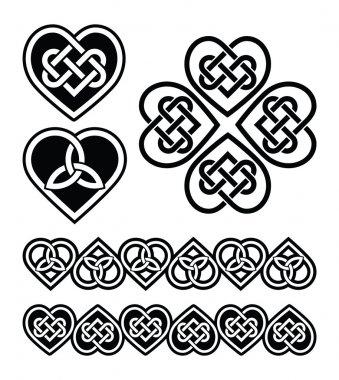 Celtic heart knot - vector symbols set