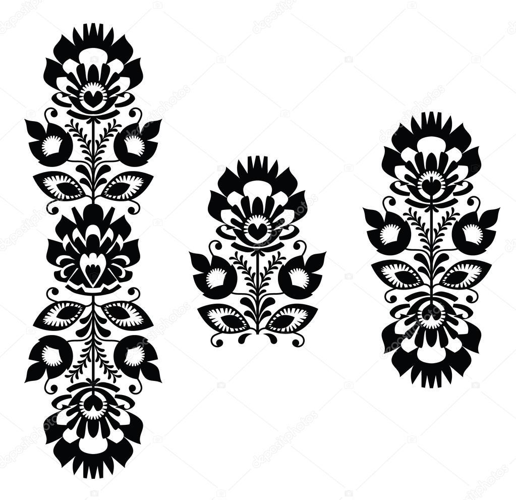bordado popular - patrón floral tradicional polaca en blanco y negro ...