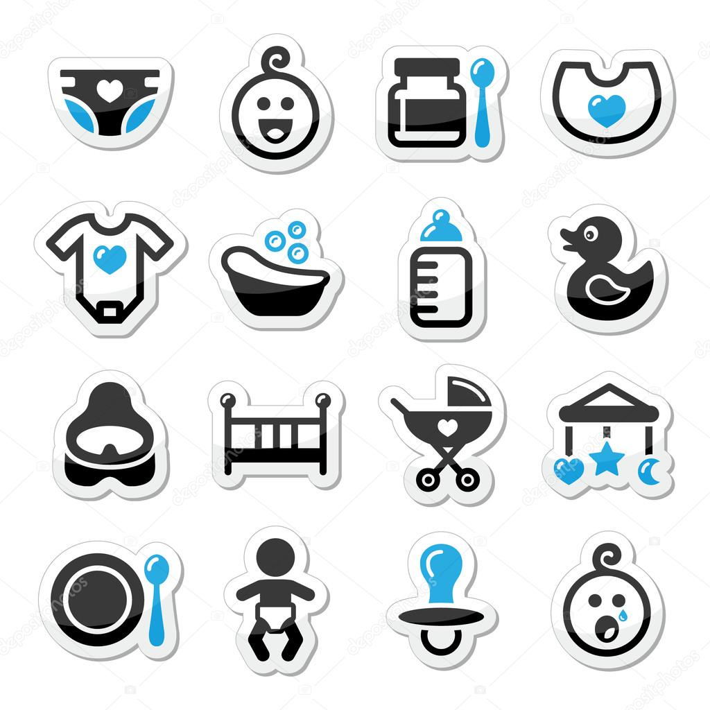 Baby , childhood vector icons set isolated on white