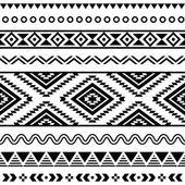 Törzsi varrat nélküli mintát, azték, fekete-fehér háttér