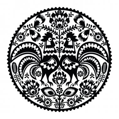 Polish floral embroidery with roosters - monochrome traditional folk pattern