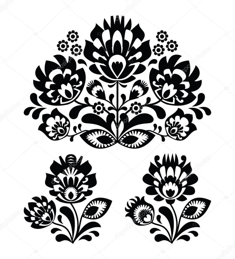 popular bordado con flores - tradicionales polaco patrón en ...