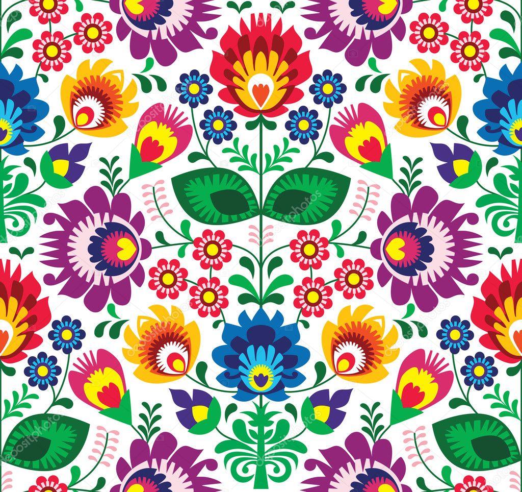 Repetitive colorful background - polish folk art pattern stock vector