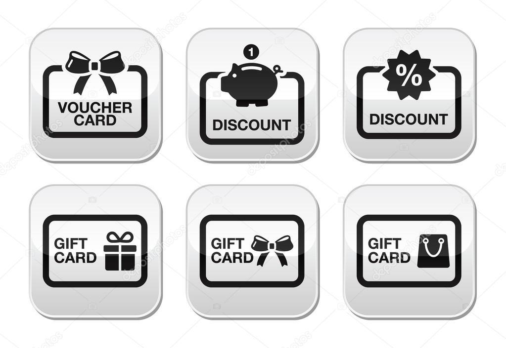 Voucher, gift, discount card vector buttons set
