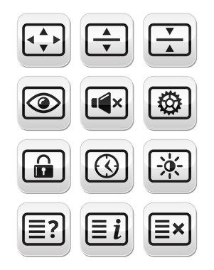 Computer tv monitor screen vector buttons set