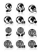 Fotografie Globe earth with hands vector icons set with reflection