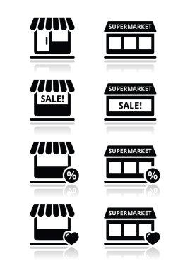 Single shop, store, supermarket vector icons set