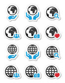 Fotografie Globe earth with hands vector icons set