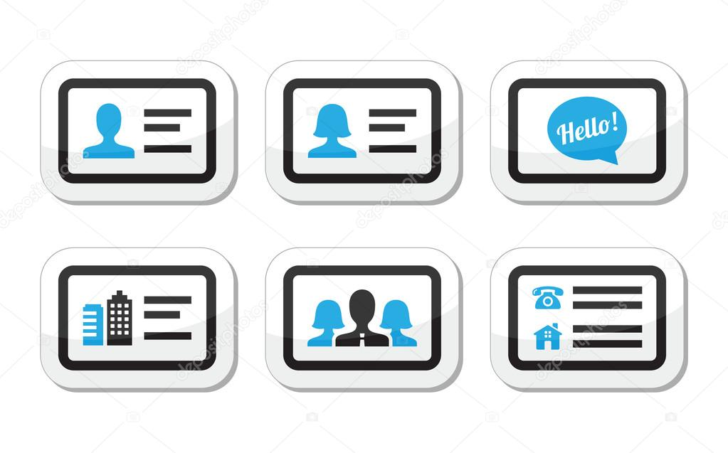 Business card vector icons set stock vector redkoala 27351951 black and blue labels set businessman businesswoman company business card vector by redkoala reheart Images