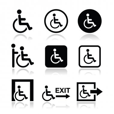 Man on wheelchair, disabled, emergency exit icon