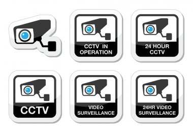 CCTV camera, Video surveillance icons set