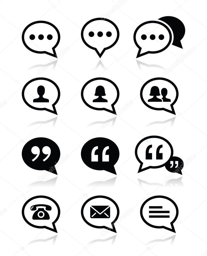 Speech bubble, blog, contact vector icons set