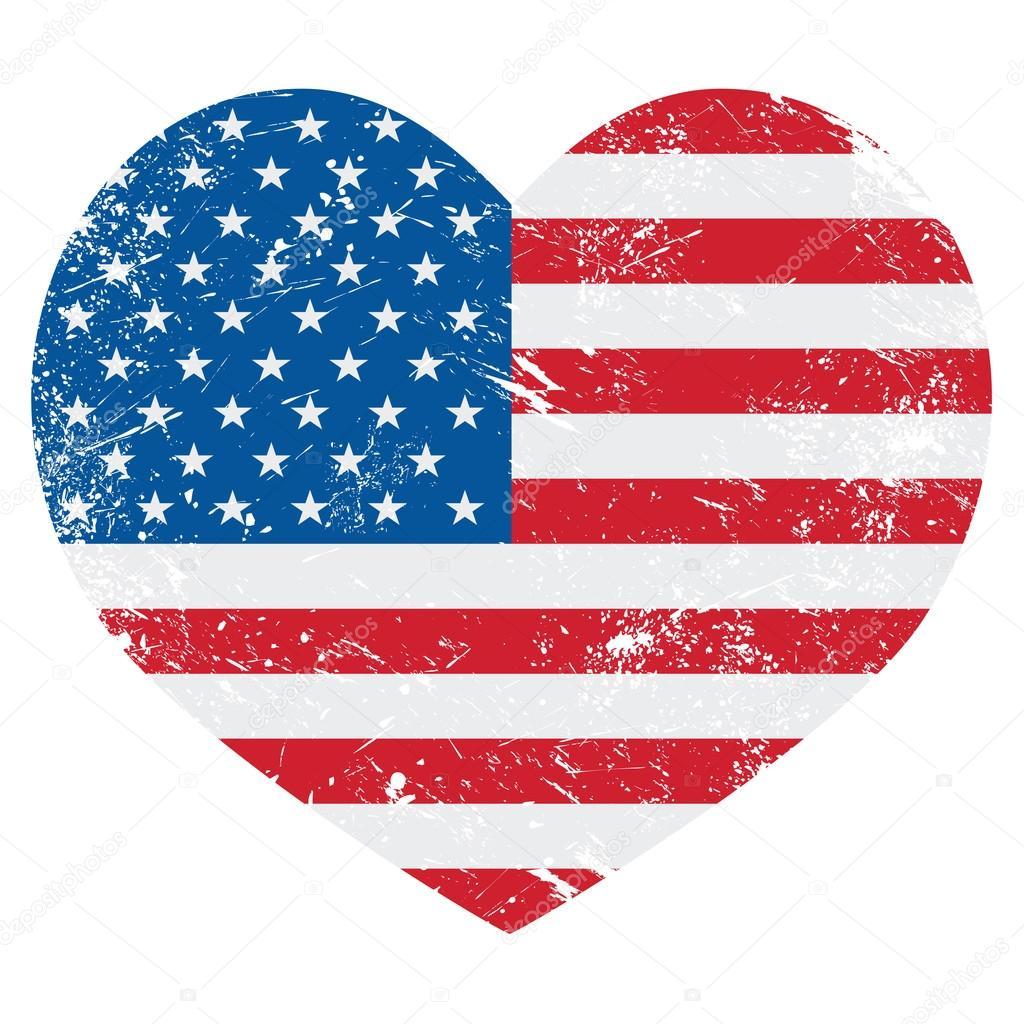 Tats unis d 39 am rique sur le drapeau de l 39 am rique de coeur r tro vector image vectorielle - Drapeau de l amerique ...