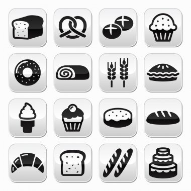 Bakery, pastry buttons set - bread, donut, cake, cupcake