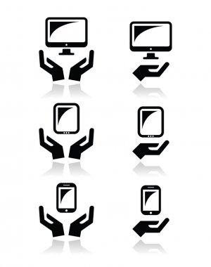 Hands with computer, tablet, mobile or cell phone icons