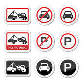 Fotografie No parking, parking forbidden red and black sign