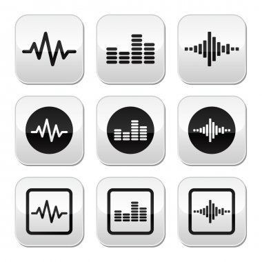 Vector grey square buttons set on soundwave isolated on white stock vector