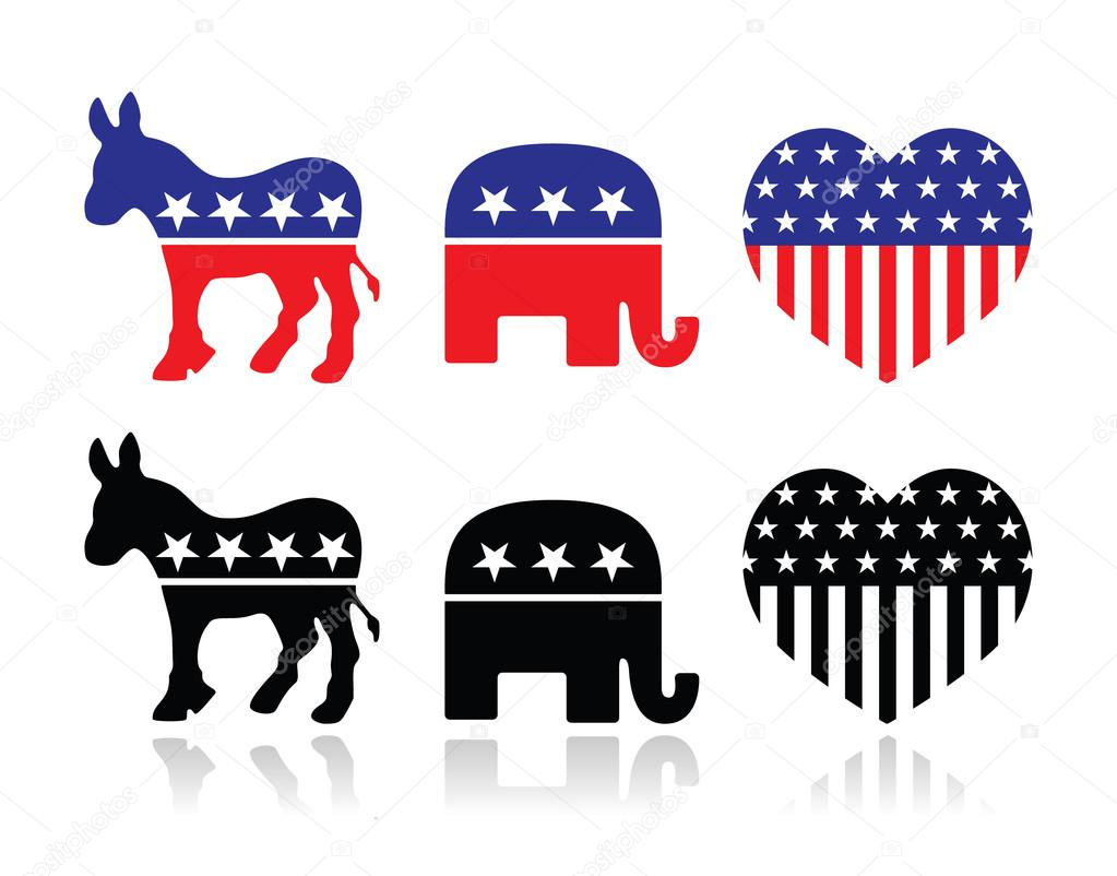 Usa Political Parties Symbols Democrats And Repbublicans Stock