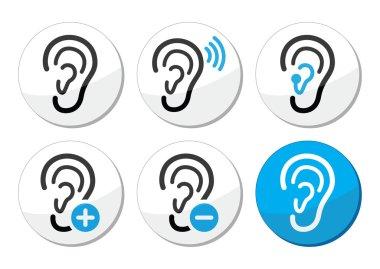 Ear hearing aid deaf problem icons set