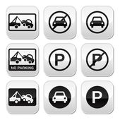 Fotografie No parking, cars buttons set