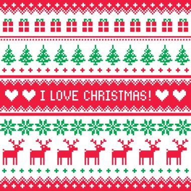 I love Christmas pattern - scandynavian sweater style