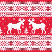 Fotografie Vánoční a zimní pletený vzor se soby