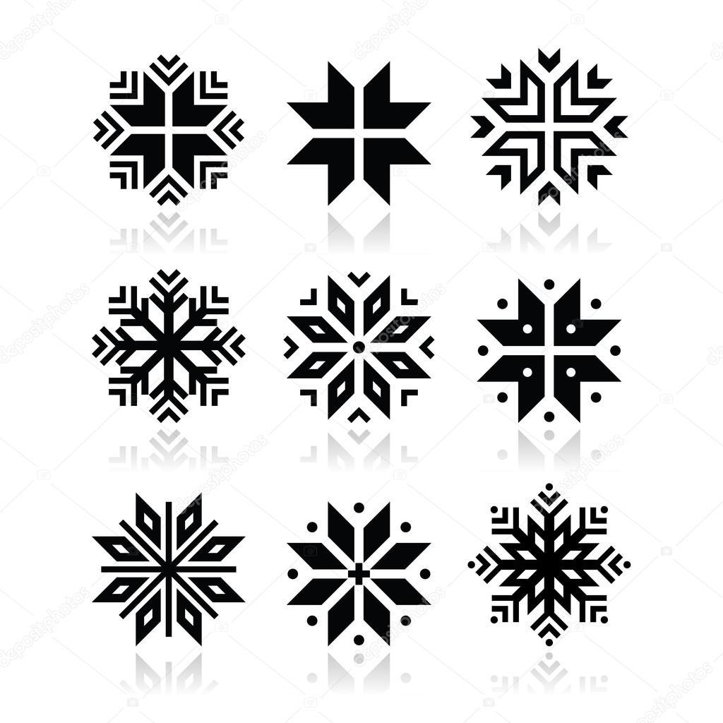 christmas winter snowflakes vector icons set u2014 stock vector