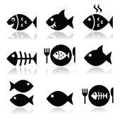 Fotografie Fisch, Fisch auf Teller, Skelett Vecotor Symbole