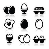 tojás, tükörtojás, tojás doboz ikonok beállítása