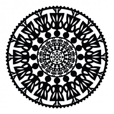 Polish traditional folk pattern in circle with women