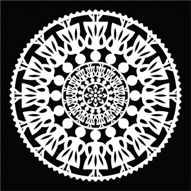 Polish traditional folk pattern in circle with women on black background
