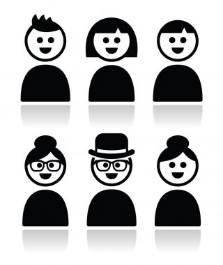 User, young and old peole icons set