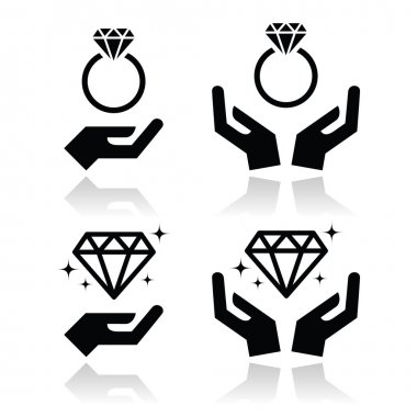 Diamond engagement ring with hands vector icon