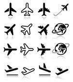 letadlo, letadlo, letiště ikony nastavit