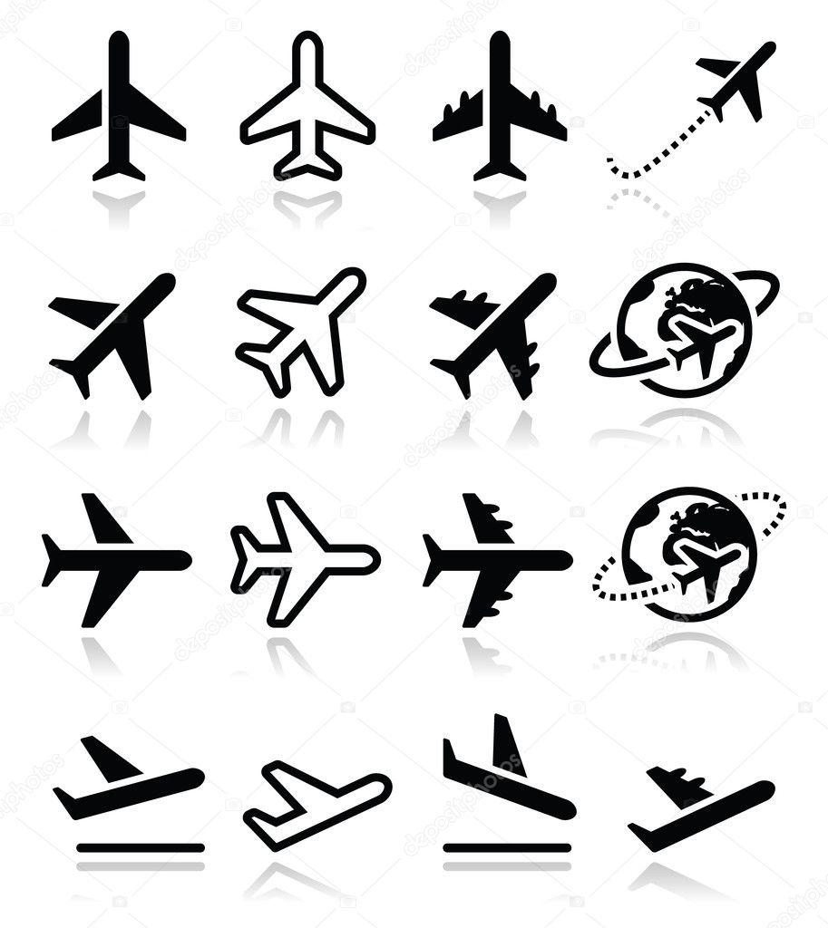 Plane, flight, airport icons set