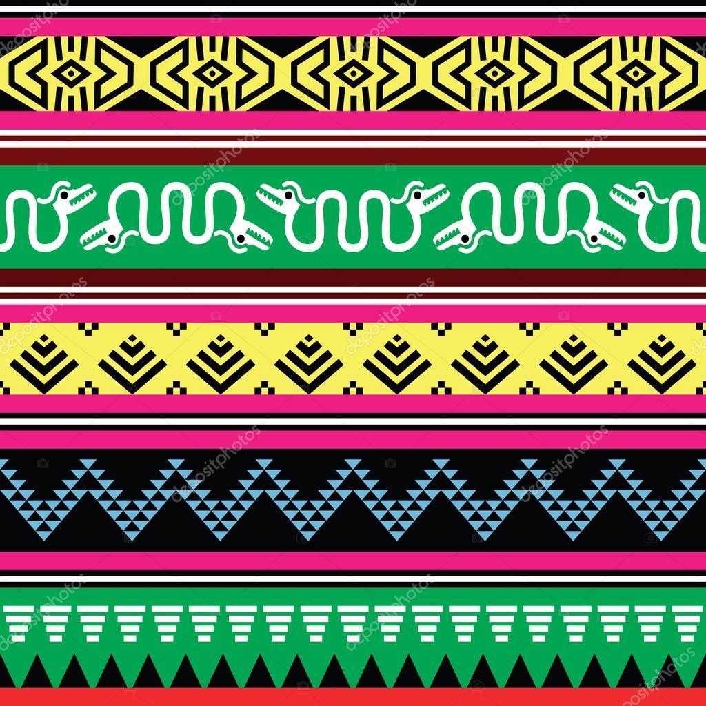 Tribales Aztecas De Colores Patrón Sin Costuras Tribal Azteca Con