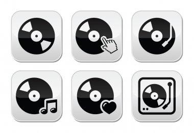 Vinyl record, dj vector buttons set
