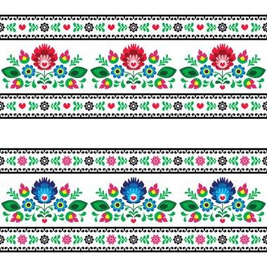 Repetitive colorful background - polish folk art decoration elements stock vector