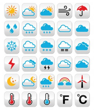 Weather conditions, seasons and temperature symbols isolated on white clip art vector