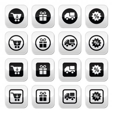 Shopping on internet black buttons set with shadow