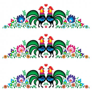 Decorative traditional colorful vector patters set - border decoration with flowers and cocks stock vector
