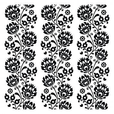 Seamless traditional folk polish pattern in black - seamless embroidery stripes