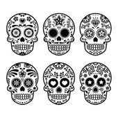 Fotografie Mexikanischer Zuckerschädel, dia de los muertos Ikonen Set