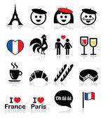 Francie, miluji Paříž vektorové ikony nastavit
