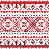 Traditional folk knitted red emboidery pattern from Ukraine