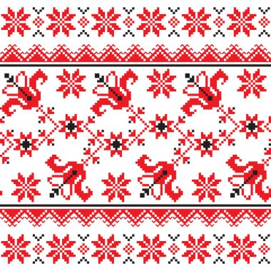 Ukrainian, Slavic Traditional folk knitted red emboidery pattern