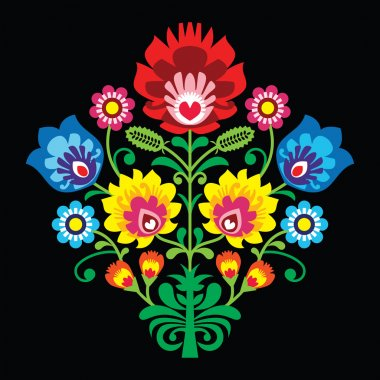 Polish folk embroidery with flowers - traditional pattern on black background