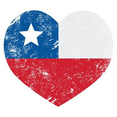 Chile retro heart shaped flag