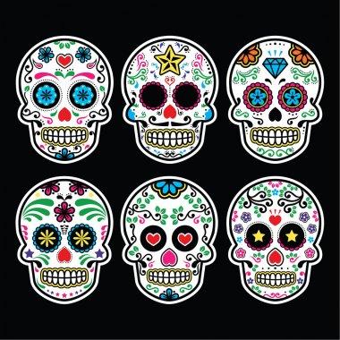 Mexican sugar skull, Dia de los Muertos icons set on black background