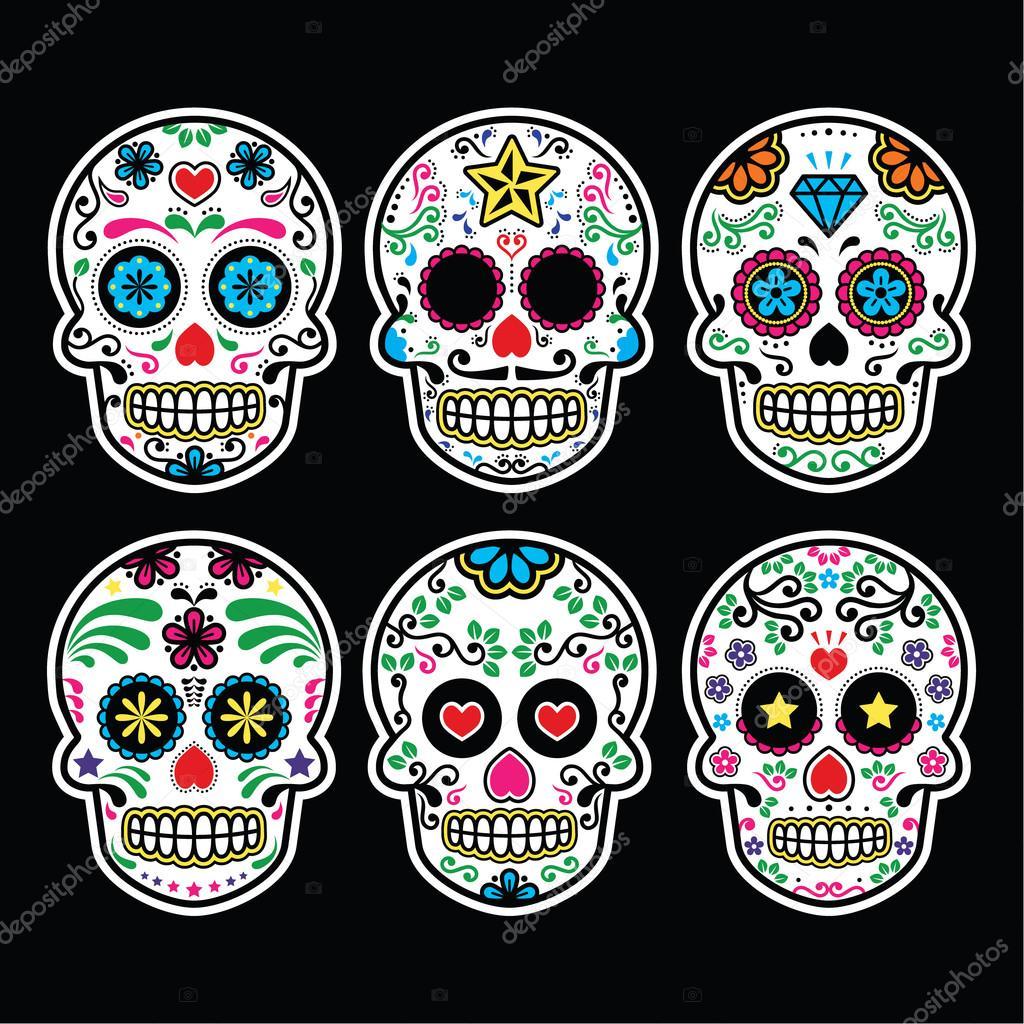 Calavera De Azúcar Mexicana Dia De Los Muertos Los Iconos Situado
